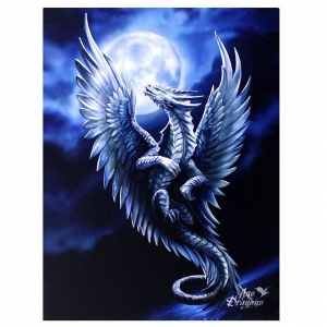 Srebrny Smok-Silver Dragon-Age of Dragons Anne Stokes-obraz na płótnie canvas