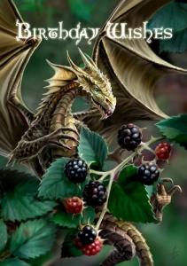 Kartka urodzinowa z grafiką Anne Stokes-Blackberry Dragon